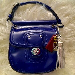 Coach Blue Patent Leather Willis Legacy Satchel